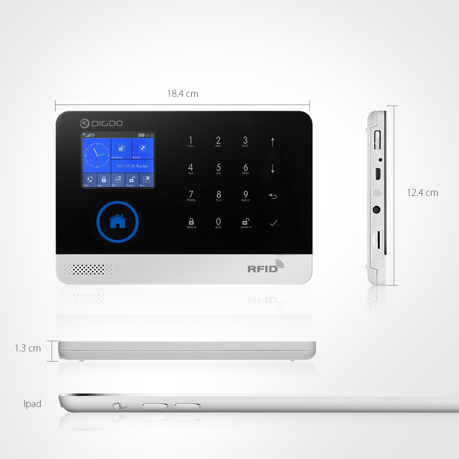 Digoo DG HOSA 433MHz 2G&GSM&WIFI Smart Home Security Alarm System Protective Shell Alert with APP