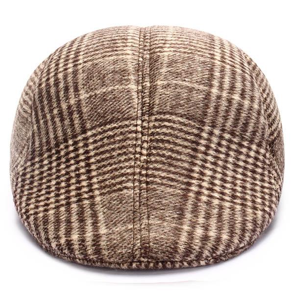 Hombre Mujer Unisex tapa de pico de pato taxista sombrero newsboy mezcla de algodón de la raya del ceñidor de la boina de vaquero plana de golf