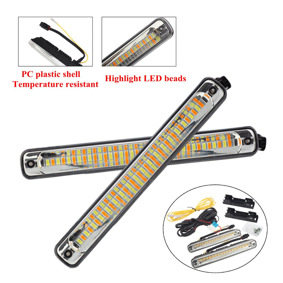 36 LED Dual Color Car Daytime Running Lights DRL Lamps Universal White+Amber