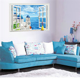 3D Window View Aegean Sea Removable Wall Sticker Art Decal Mural Home Decor