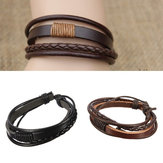 Mannen Multilayer Tribal Woven Surf Leer Armband Armband