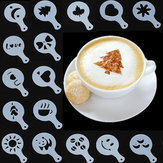 16Pcs Cappuccino Latte Art Coffee Stencils Duster Cake Icing Spray
