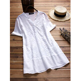 Women V-neck Short Sleeves Cotton Blouse