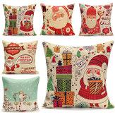 45Xcuscino cotone lino modo del regalo di Natale pupazzi di neve arredamento caso casa 45 centimetri Santa di natale