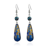Vintage Colorful Flower Earrings Cloisonne Turquoise Dangle