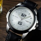 YAZOLE 418 Luminous Lederband Mode Sport Herrenuhr