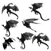 Halloween Spooky 3D Pterosaur Wall Glass Window Wall Sticker Party Decoration 7pcs