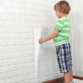 4Pcs 3D Elasticity Brick Grain Wallpaper Wall Stickers DIY Anti-collision Sound Insulation Self-adhesion Decal