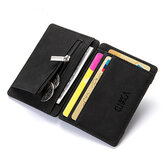 Men PU Leather Money Clip Thin Bifold Wallet Credit Card Holder