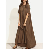 Women Casual Solid Color Short Sleeve Kaftan Maxi Dress