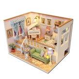 Hoomeda M026 DIY Деревянный кукольный домик из-за тебя Миниатюрный кукольный домик LED Огни