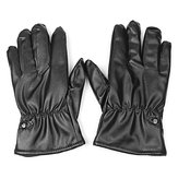 One Pair Winter Warm Touch Screen Motorcycle Waterproof PU Leather Gloves