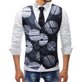Mens Fashion Printing V-Ausschnitt Slim Business Casual Weste