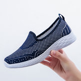 Women Casual Hollow Out Pure Color Slip On Sneakers
