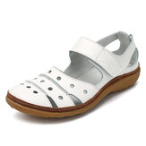 Soft Leather Hollow Out Casual Hook Loop Flat Sandals