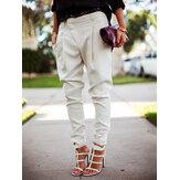 Casual bolsillo de color sólido con cintura alta pantalones de pie