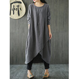 Mulheres Pocket Irregular Linen Cotton Maxi Dress