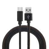 2M 2.4A Type C Fast Charging Denim Braided Data Cable For Smartphone Tablet