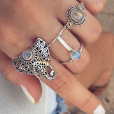 Vintage Finger Ring Set Gemstone Cute Elephant Silver