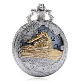 DEFFRUN Train de Mode Sculpté Ouvert Stable Poche Steampunk Montre de Charme Charme Quartz Montre