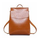 女性のオイルPUレザーシンプルな大容量シンプルなバックパックショルダーバッグ