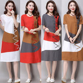 Stitching Color Matching Round Neck Short-sleeved Cotton And Linen Dress Female Long Paragraph Loose A Word Skirt Season New