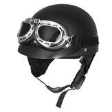 レトロマットブラックオートバイハーフフェイスヘルメットバイカースクーターサンバイザーUVゴーグルカフェレーサー