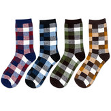 Mens Fashion Spell Color Plaid Soft Breathable Cotton Casual Tube Socks