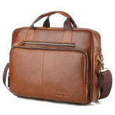 Men Genuine Leather Vintage Handbag Computer Bag