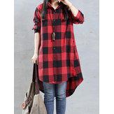 Casual Kadın Gevşek Ekose Yaka Uzun Kollu Yüksek Düşük Gömlek