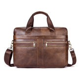 Wax Oil Cow Leather Retro Handbag Business Briefcase Bag
