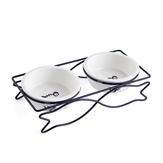Keramische voerbak voor voer en water Bowls voerbak voor huisdieren Dubbele voerbak ingesteld Visvorm metalen standaard