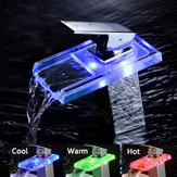 Bathroom LED Waterfall Faucet Sink Hot Cold Mixer Tap Temperature Control Light Tap