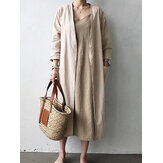 Kobiety Solid Color Casual Cotton Long Cardigans z kieszeniami