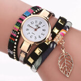 DUOYA DY066 Leaf Fabric Retro Style Ladies Bracelet Watch