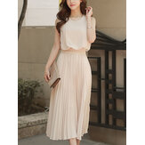 Women Casual Slim Sleeveless Pleated Dress