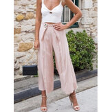Women Solid Color High Waist Casual Wide Leg Pants