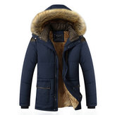 Mens Thick Fleece Warm Hooded Fur Winter Outwear Jacket