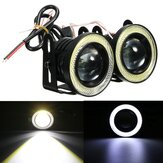 Universal 2.5Inch COB LED Fog Lights White Angel Eyes Halo Ring Daytime Running Lights DRL Projector Lamp 30W