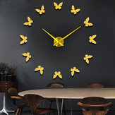 Large 3D DIY Wall Clock Home Decor Mirror Sticker Art Clock