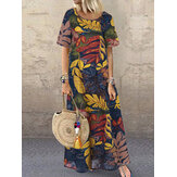 Mulheres Crew Neck Floral Cotton Vintage Maxi Dress