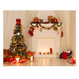 5x7ft Vinyl Christmas Tree Fireplace Sfondo Fotografia Studio Backdrop Prop