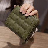 Women Quilted Zipper Short Wallet Girls Cute Mini Purse