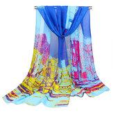المرأة جورجيت الحرير Soft الأوشحة شال جودة عالية النفط الطلاء طباعة وشاح طويل