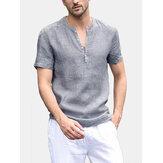 Heren Zomer Casual streep met korte mouwen katoenen tops T-shirts