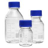 100/250 / 500mLホウケイ酸ガラスクリア試薬ボトルブルースクリューキャップラボ医療収納ボトル