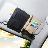 Carro de couro PU Viseira de Sol Óculos Clip Card Pen Holder Storage Driver License Package