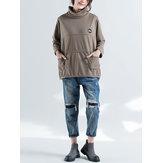 Plus Größe Lässig Damen Stehkragen Sweatshirts
