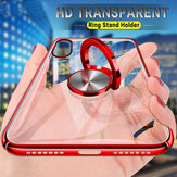 Bakeey Transparent Ring Holder Color Plating Anti-Scratch Hard PC Protective Case For Xiaomi Mi8
