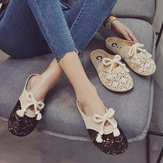 Sandals And Slippers Women's New Fashion Breathable Mesh Bow Flat Casual Student Baotou Half Slippers